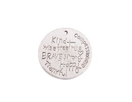 Nouvelle mode arriver de 20PCS Antique Argent Kind sage compassion véritables reconnaissants heureux Charms métalliques rondes # 92032 ? partir de fabricateur