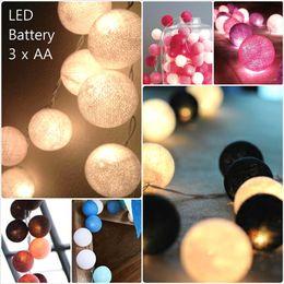 Wholesale Led Light Cotton Ball - total 31colors, Battery Operated LED 40pcs set thai style Cotton Ball String Lights Fairy ,wedding xmas, Christmas Patio Decor