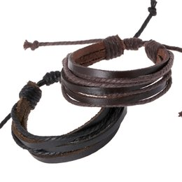 Wholesale Mens Braided Rope Bracelets - Black and Coffee Mens Bracelets Wrap Multilayer Genuine Leather Bracelet with Braided Rope Fashion Adjustable Leather rope Jewelry