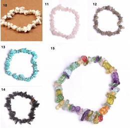 Wholesale chip bracelets wholesale - Lazuli Reiki Bracelets For Women 7 Chakra bracelets Hot 15 colors Healing Crystals Natural Stone Chips Single Strand Women Bracelets