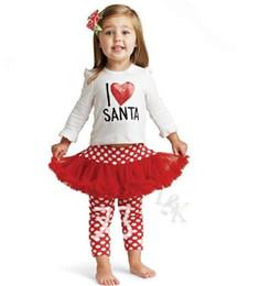 Argentina Las niñas me encanta Santa 2 piezas conjunto trajes niños navidad tutú vestido niños x manga larga camiseta de algodón niña puntos polainas J101302 # supplier set santa dresses Suministro