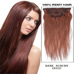 """Wholesale Remy 33 - 70g 16"""" 18"""" 20"""" 22""""100% remy Human Hair CLIP IN HAIR EXTENSIONS Straight CHOCOLATE BROWN #33 Dark Auburn 7pcs set"""