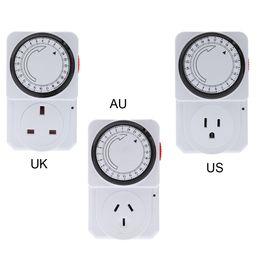 Wholesale Uk Switches - 24-Hour Programmable Mechanical Electrical Plug Program Timer Power Switch Energy Saver UK US AU Plug order<$18no track