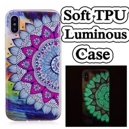 Wholesale Note Cartoon Cases - Ultra Thin Cartoon Printed Glow in Dark Night Luminous Soft TPU Case Dog Tribe Unicorn For iPhone 6 7 8 Plus X Samsung S7 edge S8 Note 8