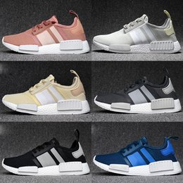 Wholesale Plastic Salmon - NMD Runner R1 Mesh Salmon Talc Cream Olive Triple Black Men Women Running Shoes Sneakers Originals Fashion NMDs Runner Primeknit Shoes 36-45