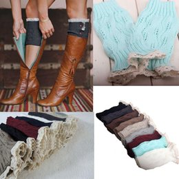Wholesale Women S Boots Wholesale - Wholesale-New Women Girl`s Crochet Knit with Buttons Leg Warmers Lace Trim Cuffs Boot Socks