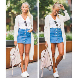 Wholesale Casual Mini Skirt Outfits - Fashion Women Denim High Waist Bodycon Stretch Pencil Short Mini Skirts Summer Jeans Pockets Buttons Leotard Skirt Outfits NEW
