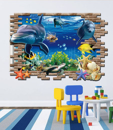 Wholesale Underwater Wall Art - 2015 Finding Nemo 3D wall stickers ocean shark Cartoon PVC underwater world wall stickers wholesale fashion creative personality wall decals