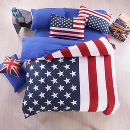 Wholesale Duvet White - Wholesale- American Flag Bedding Set USA British UK Flag Print Bed English Teen Fitted Sheet 3-4pcs,Full Queen Twin Duvet Cover Pillow Case