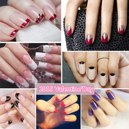 Wholesale Fashion Design Stencils - 2015 French Nail Art sticker nail art decal 3 Style Sticker Stencil DIY 10pcs lot fashion design Xf finger stickers nail art finger stick