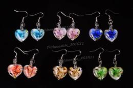 Wholesale Glass Heart Bulk - wholesale lots bulk Retail Heart Flower glass silver Plated earrings Jewelry #E4