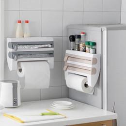 Wholesale Paper Racks - Refrigerator Cling Film Storage Rack Shelf Plastic Wrap Cutting Device Wall Hanging Paper Towel Holder Kitchen Bathroom tool