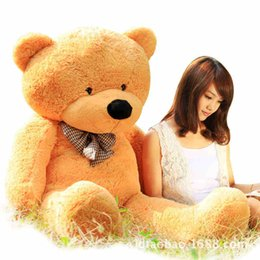 Wholesale Three Teddies Gift - Wholesale-200 CM Three Colors Giant Teddy Bear Skin Coat Soft Adult Coat Plush Toys Wholesale Price Gifts For Friends Free Ship PT086