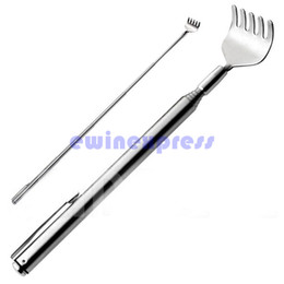 "Wholesale Back Scratcher Free Shipping - New Arrival Extendable Stainless Steel Telescoping Back Scratcher Extend 20"" Pen Pocket Clip Free Shipping Drop Shipping"