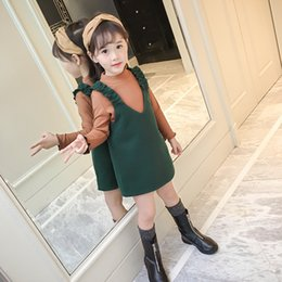 Wholesale Brown Ruffle Blouse - Everweekend Kids Girls Fashion Outfits Brown Top Blouse and Ruffles Suspender Dress 2PCS Oufits Sets Western New Sets