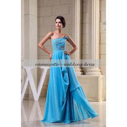 Wholesale Natural Blue Pools - Pool Chiffon A Line strapless Personality Zipper Prom Dresses Floor Length Sleeveless Beading Evening Dresses Gowns