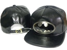 Wholesale Snapback Caps Batman - Top Quality Hot Sale Black Cartoon Batman LEATHER Snapback Hats Strapback Adjustable Baseball Cap HIP HOP UNISEX Caps DDMY
