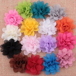 Wholesale Chiffon Ballerina Flowers - 20pcs Mixed colors Ballerina Chiffon Flowers ,Multi Layers Flower -DIY supplies Hair Accessories