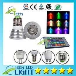 2019 cores led mr16 RGB 3 W E27 E26 GU10 Levou lâmpada E14 GU5.3 85-265 V / MR16 12 V CONDUZIU a lâmpada Holofotes 16 Cores Mudar + IR Remoto controlador cores led mr16 barato