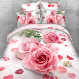 Wholesale Cheap King Beds - Wholesale-Cheap 3d bedding set bed set bedcover duvet cover doona cover set sheet pillowcase queen king bed linen pink rose