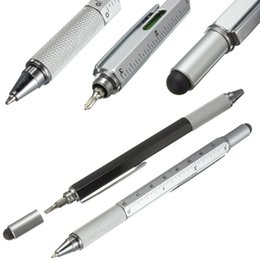 Wholesale Function Office - Modern Design Overvalue Handy Tech Tool Ballpoint Pen Screwdriver Ruler Spirit Level Multifunction Tool Fit For Mens Gift