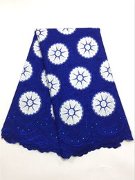 Wholesale Swiss African Lace Fabric Wholesale - High Quality Swiss Voile Lace 2017 African Voile Swiss Lace Fabric African Swiss Cotton Voile Lace Fabric For Clothe blue