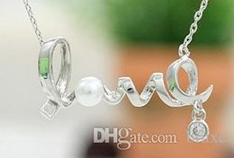 Wholesale Silver Plated Letter Charms - Korean version of the pendant wholesale fashion temperament wild short paragraph LOVE letter necklace 18K gold-plated diamond necklace perso