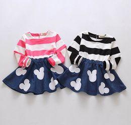 Wholesale Stripes Dress Girls - 2016 Spring New Design Girl Dresses Cartoon Stripe Patchwork Princess Long Sleeve Dress 3-7Y 15064