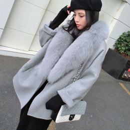 Wholesale Fur Collar Trench - Women Winter Fox Fur Collar Coats 2018 High Imitation Fox Fur Collar Zipper Trench Coat New Style Woolen Coat Casacos 2XL Faux Fur