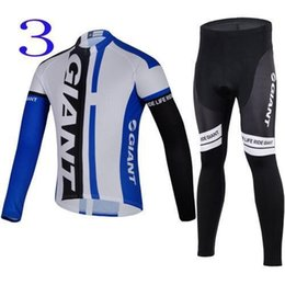 Wholesale Long Sleeve Padded Shirts - Latest Giant Long Sleeve Team Cycling Jersey Set Breathable Black Blue Shirts and Pants with Healthy Pads Mens Cycling Clothes