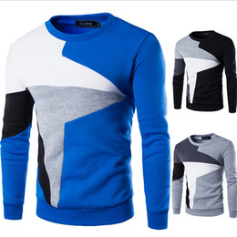 Wholesale Sport H - 2017 new autumn and winter men (M-4XL) stitching hit color round neck long-sleeved sweater leisure cashmere sweater youth sports head suit h