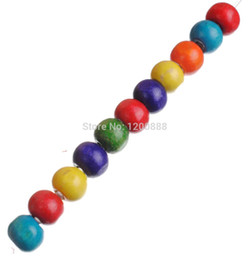 Wholesale Bright Nose Rings - 50pcs Mixed bright Color Wood Beads Jewelry Findings 12mm 4B117