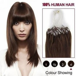 "Wholesale Micro Loop Remy Peruvian - 5A -16""- 26""1g s 100g pack 4#medium brown Brazilian Peruvian Indian Malaysian Human Loop Hair Micro Ring Hair Extensions dhl free shpping"