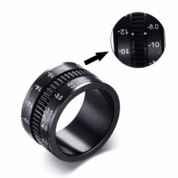 Wholesale Photographer Camera - Unique Men's Rings Stainless Steel SLR Camera Lens Ring for Men Black Fashion Jewelry Spinner Band Photographers Accessories HOT