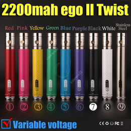 Wholesale Ego Vv Variable Voltage - New eGo II twist vv 2200 mAh 3.3V-4.8V Variable Voltage ego 2 GS 2200mah huge capacity battery 3200 mAh spin e cigs cigarettes battery DHL