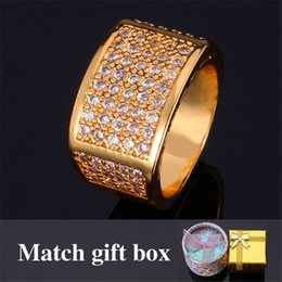 Wholesale Yellow Gold Wedding Rings Set - Men's Jewelry Simple Rings 18K Real Yellow Gold Filled Top Quality Cubic Zircon Wedding Rings Fashion Jewelry For Men MGC R318