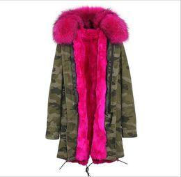 giacca camouflage neve Sconti JAZZEVAR Marca Hot pink pelliccia di procione trim Donna neve Camouflage shell giacche hot pink rabbit fodera in pelliccia lungo parka Germania Norvegia