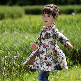 Wholesale Cute Baby Coats For Girls - Newest Retail Cotton Flower Printed Girls Overcoat Long Sleeve Baby Girl Outwear Autumn Cute Fancy Kids Clothing For Sale OC80718-1W