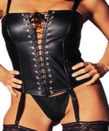 Gros-S-XL Nouveau Design Sexy Erotique Femmes Corset Tops PVC Cuir Shapewear Fétiche Noir Corset Lingerie Avant Dentelle Bustier Corset ? partir de fabricateur