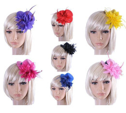 Wholesale Flower Feather Hair Accessories - Feather Hat Wedding Ribbon Gauze lace Feather Flower Mini top hats fascinator party hair clips caps homburg millinery Bridal Accessories