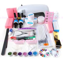 Wholesale 9w uv lamp set - Wholesale-Professional Nail Tool 9W UV Gel Lamp Dryer Manicure Nail Art Glitter Salon Polish Set