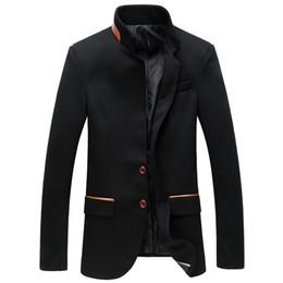 Wholesale Korean Style Jackets Men - Mandarin Collar Blazer Men Grey Single Breasted Casual Wedding Men Slim Fit Blazer Jacket Korean Style Asian Size M-6XL A0018
