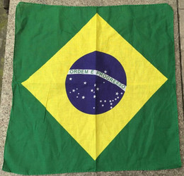 Wholesale Wholesale Football Scarves - 12Pcs Lot 100% Cotton Bandana Wristband Brazil Italy Flag head Scarf Football Fan headwrap