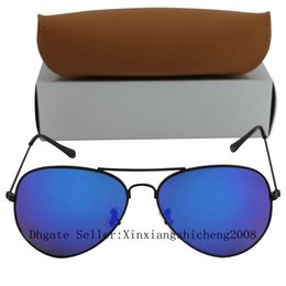 Wholesale Colorful Glasses For Men - 1pcs Free Shipping Top quality New Fashion Brand Men 58mm Sunglasses Black Frame Blue Colorful glasses For black box And Case