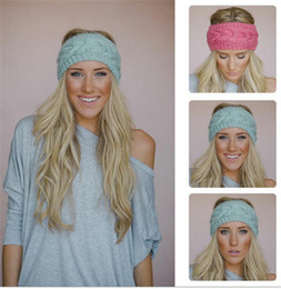 Wholesale Warm Headbands For Women - hot sale 31 colors Fashion Warmer headbands for women Women's Wool Crochet Headband Knit Hair band Flower Winter D491