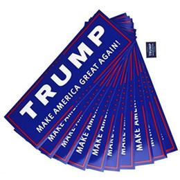 Wholesale car bumper stickers - Blue US Presidential Election Trump Bumper Car Stickers 23*7.6cm Car Bumper Stickers With Lettering Donald Trump President Stickers OOA3551