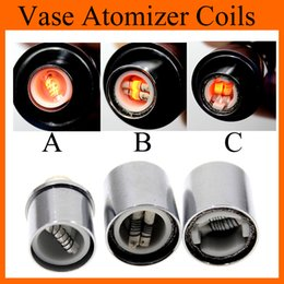 Wholesale Glass Tank For Dry Herbs - Dual Ceramic Wax Coil Head Dual Cotton Dry Herb Vaporizer Coils for Glass Wax Atomizer Vapor Cannon Vase Clearomizer Tanks Rich Styles FJ029