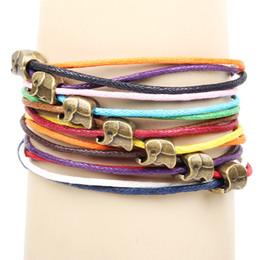 Wholesale 18k Gold Cord - Candy color leather rope elephant bracelet Dogan multilayer bracelet with leather bracelet Fashion leather cord bracelet