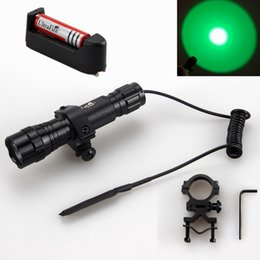 Wholesale Led Tactical Flashlight Pressure Switch - Hunting Green Light UltraFire WF-501B 1-Mode LED Tactical Flashlight 18650 Battery Charger Torch Mount Remote Pressure Switch Free Shipping