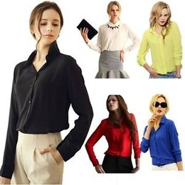 Wholesale Women Apparel Shirt - Apparel Women's Clothing fashion Plus Size sexy woman Casual female Shirt Blouse Chiffon Tops Elegant OL Turn Down Solid tee cloth A1